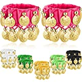 Zhanmai 6 Pairs Belly Dance Wrist Ankle Cuffs Bracelets Chiffon Gold Coin Belly Dance Costume Accessory (Color B)