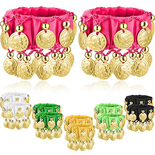 Zhanmai 6 Pairs Belly Dance Wrist Ankle Cuffs Bracelets Chiffon Gold Coin Belly Dance Costume Accessory (Color -
