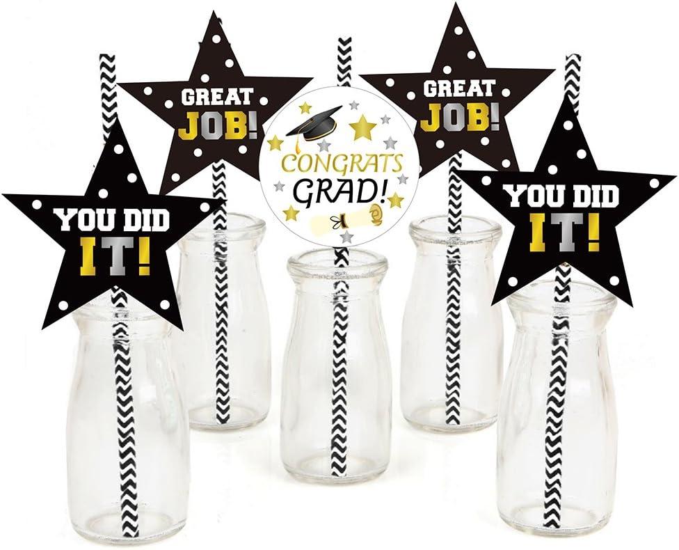 2020 Grad Graduation Party Gold and Black Graduation Decor 12 Gold Grad Hat Party Straws Grad Party Table Decor Stripe Straws