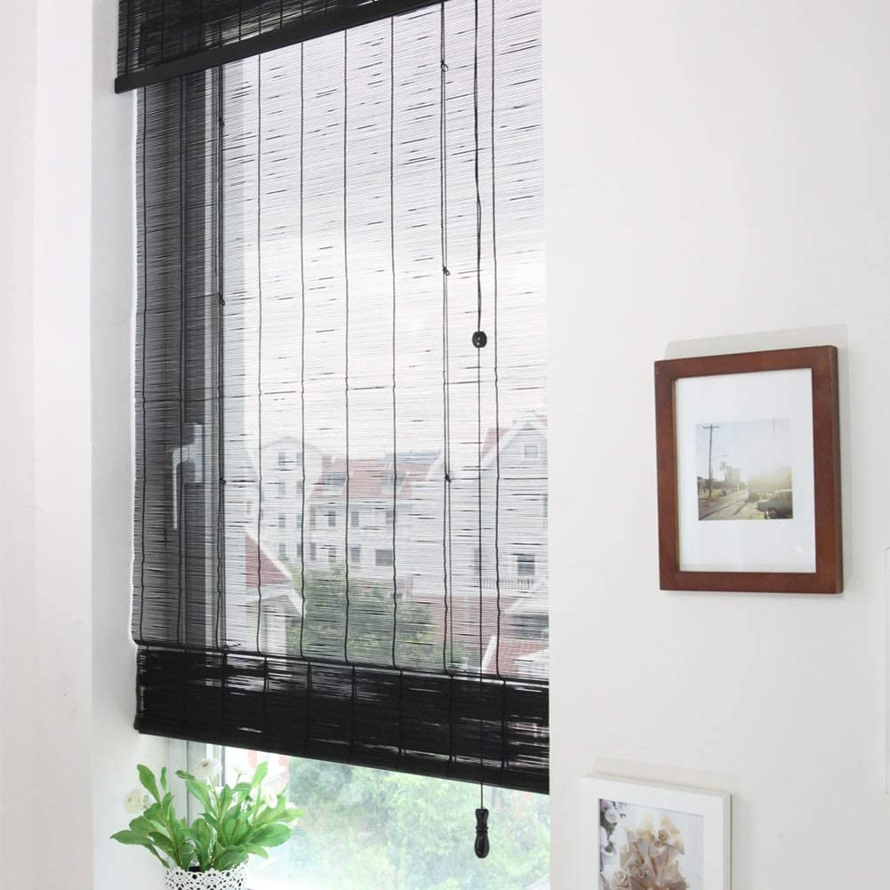 Persiana de bambú Cortina Enrollable De La Habitación Negra - Filtrado De La Luz Persianas Enrollables Windows Bamboo Sun Shade, 60cm / 80cm / 100cm / 120cm / 140cm Wide (Size :