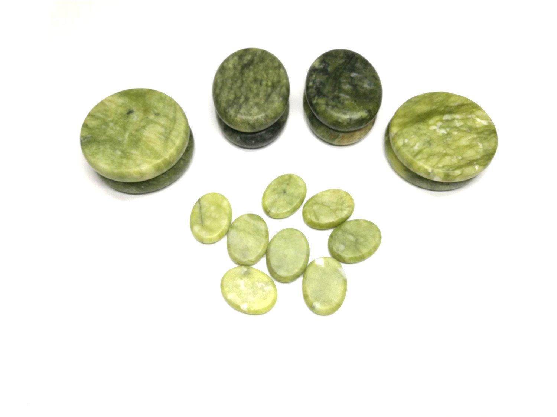 Windfulogo 16Pcs Large Hot Massage Stones Set Natural Green Jade Heated Warmer Stone for Spa Massage 886834 by Windfulogo (Image #1)