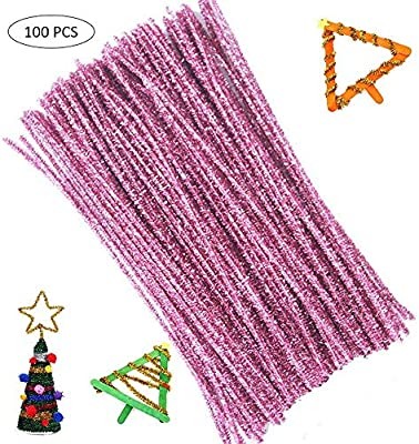 /& White Pipe Cleaners DIY Christmas Craft Decoration 12 x 6mm Christmas Holidays Colored Flexible Craft 100pc Chenille Stems Green Red
