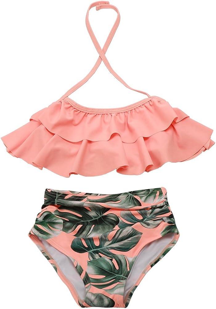 Pink and Yellow Striped Bikini Childrens Size 4