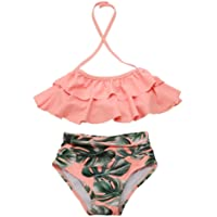XUNYU Girls Swimsuit Falbala High Waisted Bathing Suit Halter Neck Bikini Swimwear