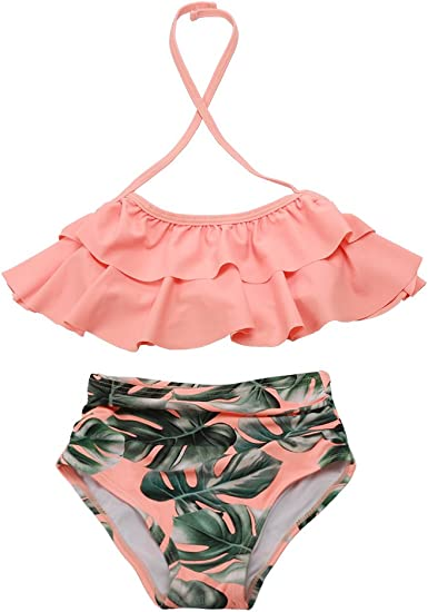 Toddler Baby Girl Two-Piece Bikini Plaid Swimsuit Off Shoulder Swimwear Ruffle Bathing Suit Summer Beachwear