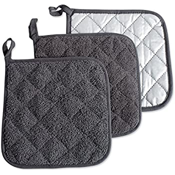 DII 100% Cotton, Terry Pot Holder Set Machine Washable, Heat Resistant, 7 x 7, Mineral Gray, 3 Piece