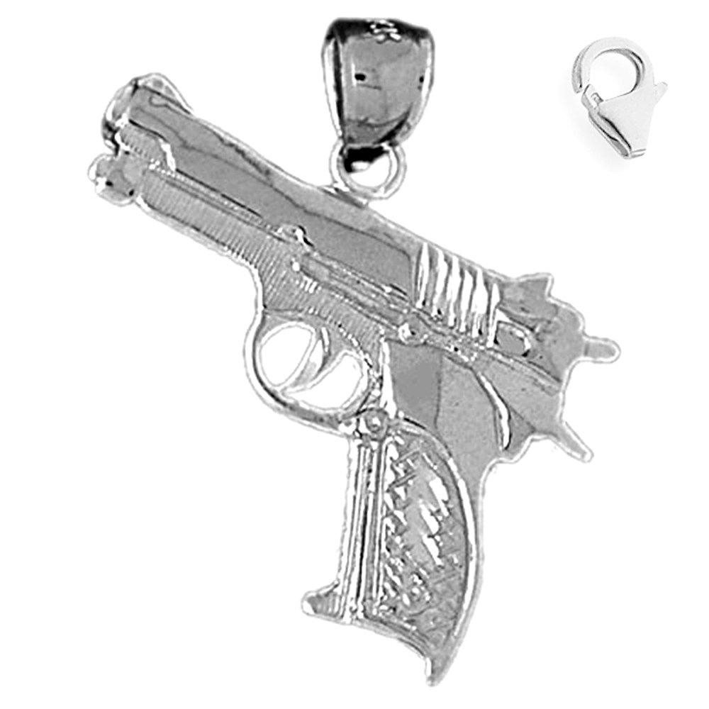 Jewels Obsession Handgun Pendant Sterling Silver 31mm Handgun with 7.5 Charm Bracelet