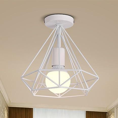 Lámpara de techo industrial diamante, metal en forma de jaula ...