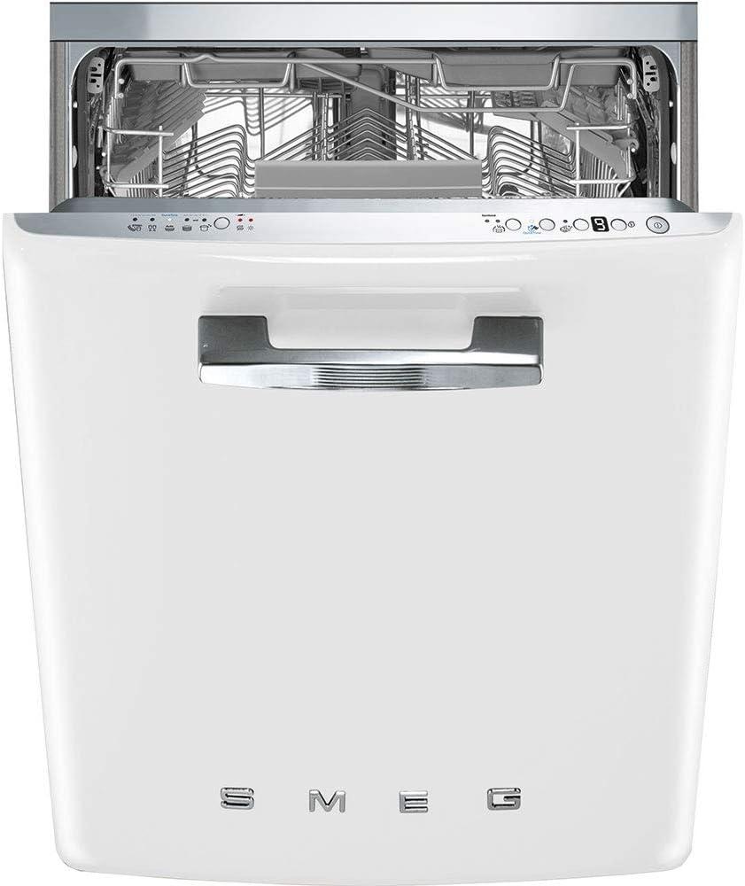 24-Inches Smeg STFABUWH 50s Retro Style Aesthetic Fully Integrated Dishwasher with 13 Place Setting White Panel Ready