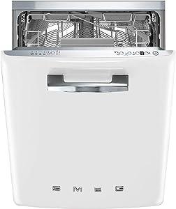 Smeg STFABUWH 50's Retro Style Aesthetic Fully Integrated Dishwasher with 13 Place Setting White, 24-Inches
