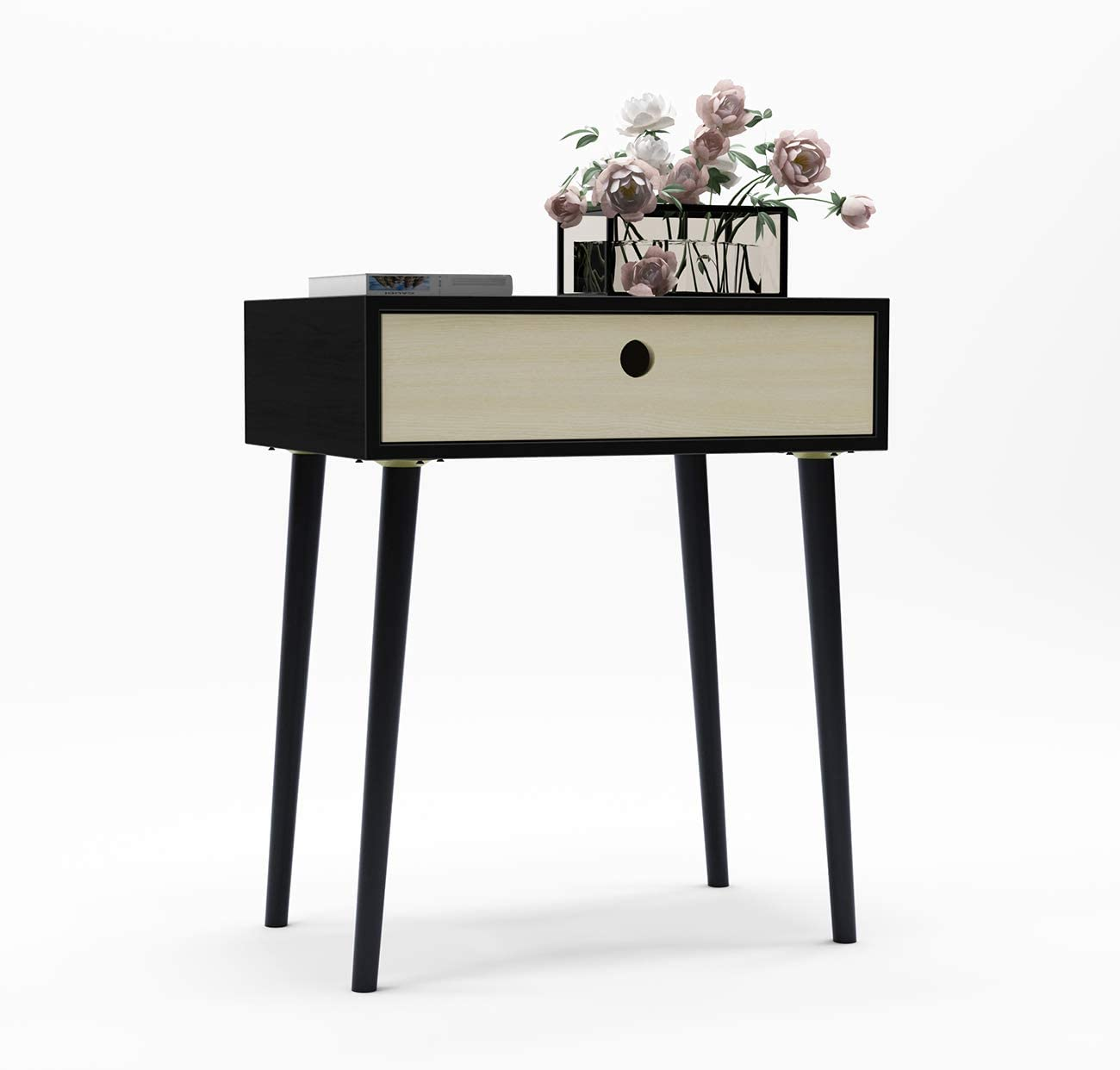 SogesPower Nightstand Bedside Table End Table with Drawer Side Table for Bedroom Coffee Table for Living Room Console Table for Home and Office Black SPYS-SYS1004-CA