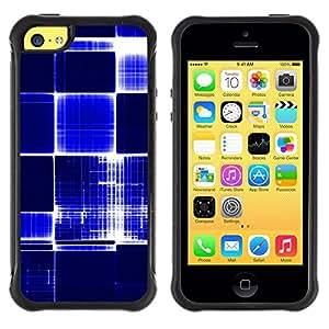 LASTONE PHONE CASE / Suave Silicona Caso Carcasa de Caucho Funda para Apple Iphone 5C / Pattern Checkered Blue White Bright Bling