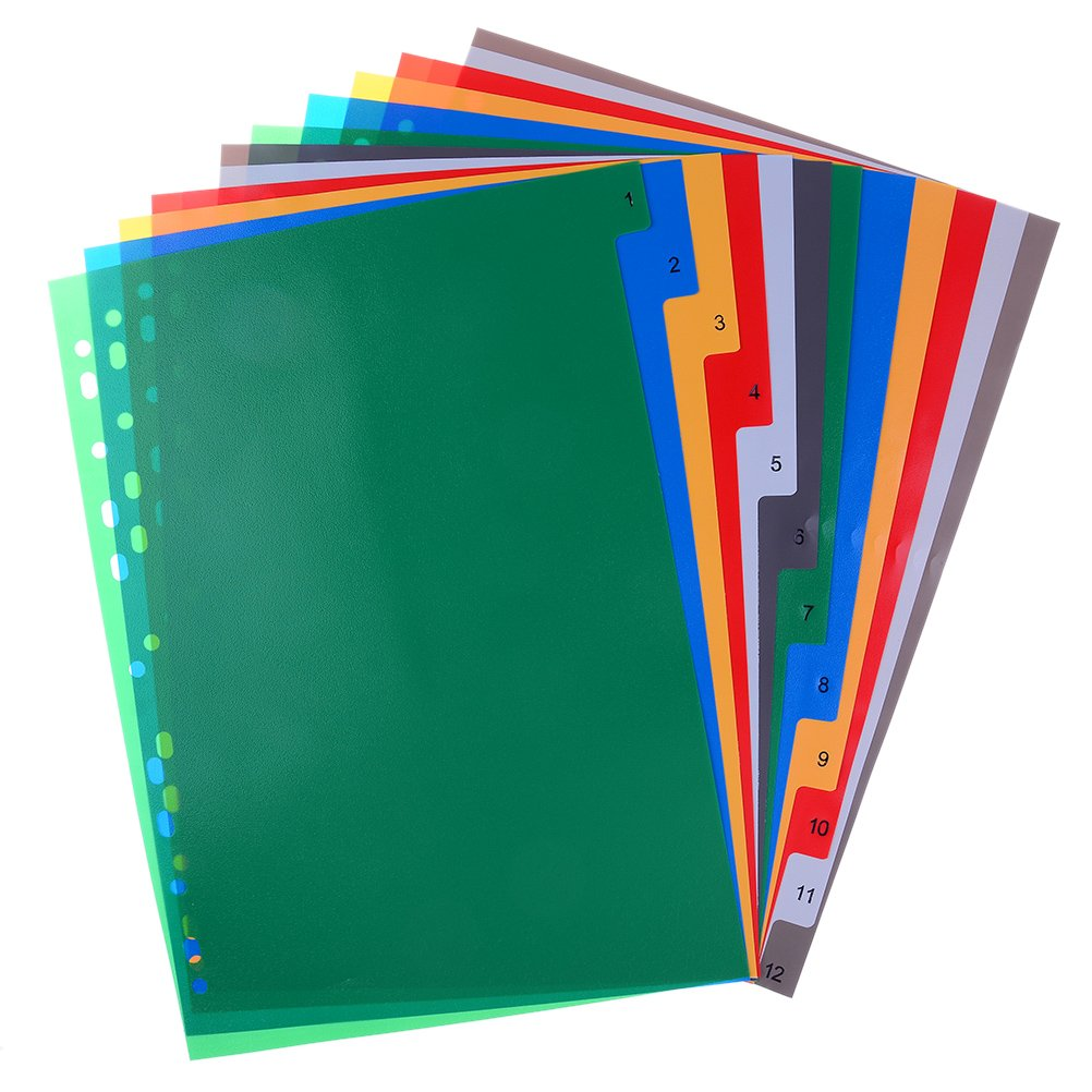 MONLAIEYLIU Plastic A4 File Part Dividers Extra Wide Index Dividers,20 Part