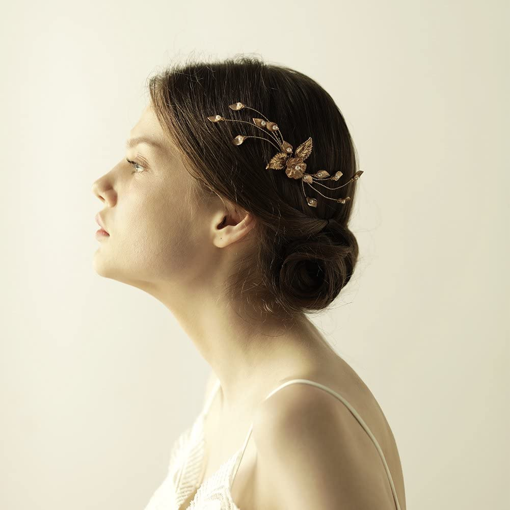 Yazilind Calla Lily Alliage Fleur Cheveux Peigne Or Mode Perle Coiffure Mariage Tiare Femmes Bijoux
