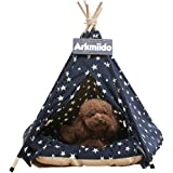 Arkmiido Pet Teepee Dog & Cat Bed with Cushion- Luxery Dog Tents & Pet Houses with Cushion & Blackboard (Star)