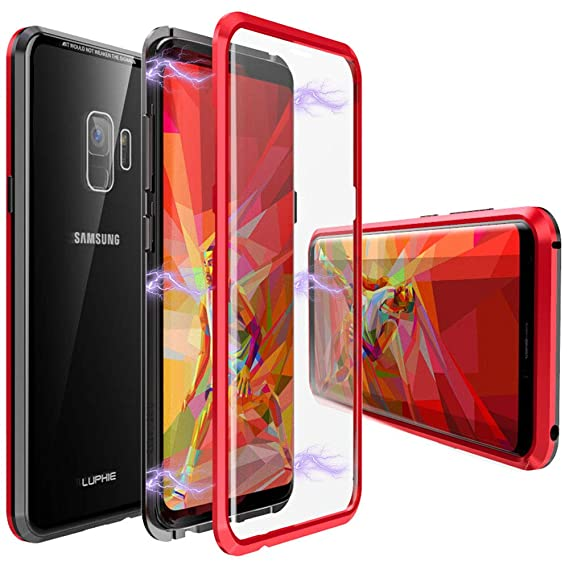 online store 0a98e 2eb70 Galaxy S9 Case,Magnetic Adsorption Case Front and Back Tempered Glass Full  Screen Coverage One-Piece Design Flip Cover [Support Wireless Charging] for  ...