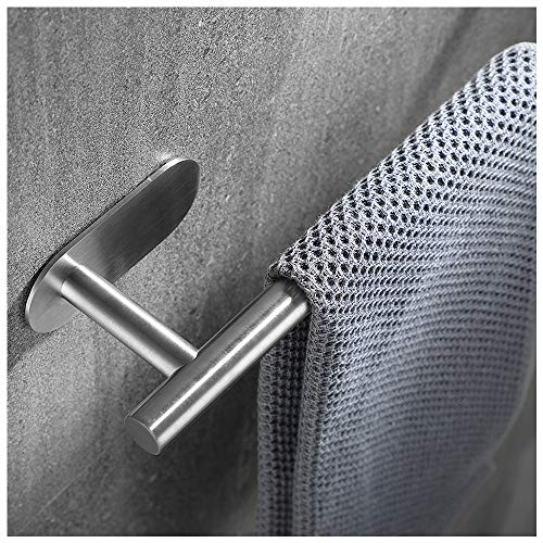 JQK Self Adhesive Towel Bar, 20 Inch Stick on Stainless Steel Hand Towel Holder for Bathroom and Kitchen, NM No Drilling Wall Rail Brushed Finished, ATB110L17-BN