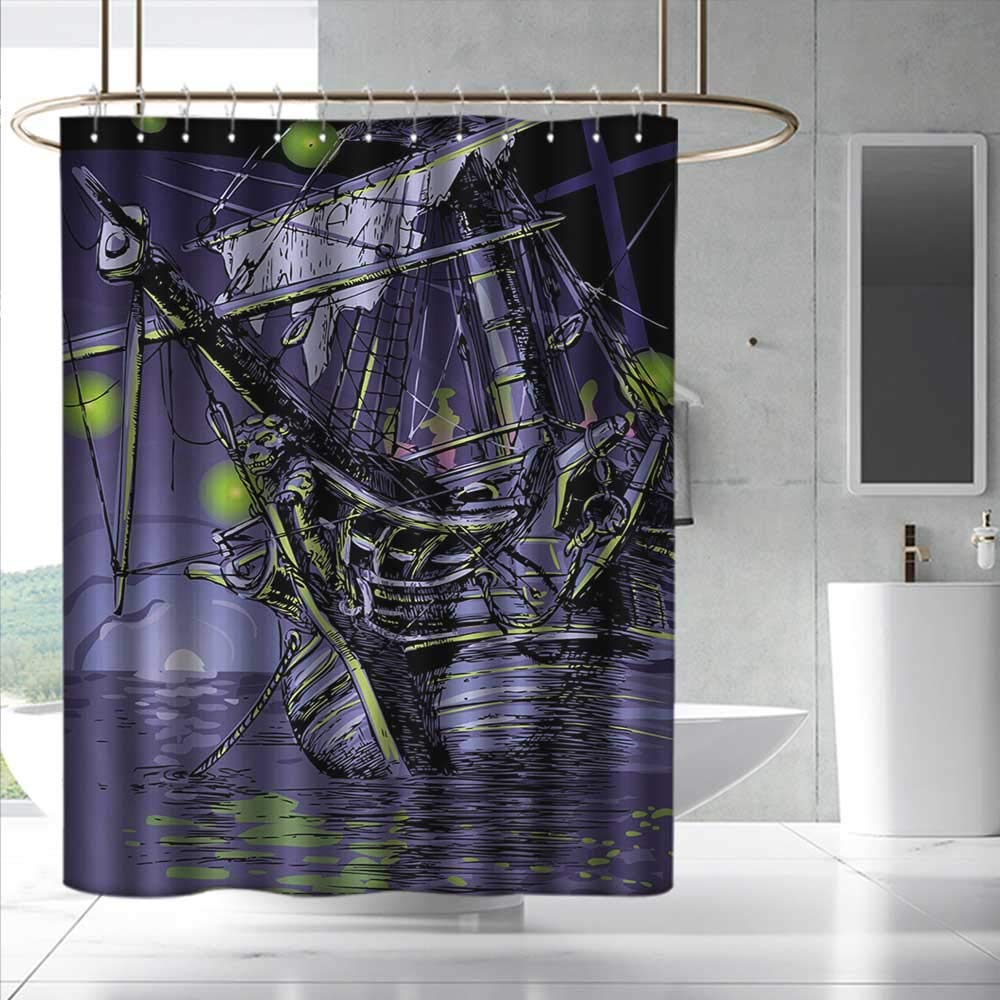 Pirate Ship Shower Curtain&Metal Hooks Ghost Ship on Fantasy Caribbean Ocean Adventure Island Haunted Vessel Fabric Shower Curtain Bathroom W55 x L84 Purple Lime Green