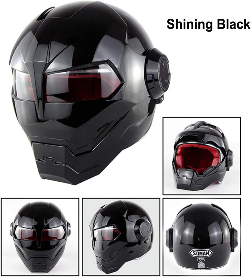 Full Face Motorcycle Helmet,Vintage Harley Motorcycle Helmet Full Face Protection for Adult Men Women Moped Scooter Flip Up Helmet Crash Helmets Comply with Road Laws Personality,Shining black-L