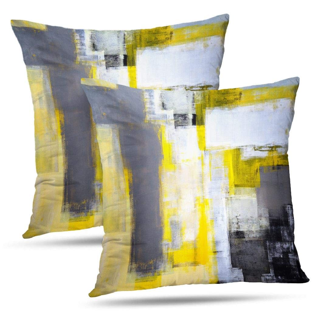 Alricc Grey and Yellow Abstract Art Modern Contemporary Pillow Cover, Artwork Decorative Throw Pillows Cushion Cover for Bedroom Sofa Living Room 18X18 Inches Set of 2