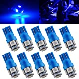Qasim T10 Wedge 5-SMD 5050 Ultra Blue LED Light Bulbs W5W 2825 158 192 168 194 12V DC (Pack of 10)
