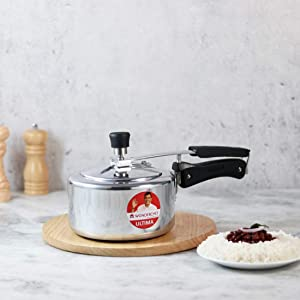 Wonderchef Ultima Inner Lid Indian Cooking Aluminum Pressure Cooker, 2 Quarts, Silver