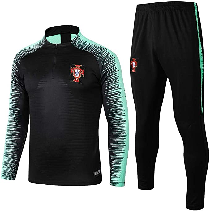 Tuta da Allenamento a Maniche Lunghe a Squadre Portogallo Uniformi della Squadra di casa Uniforme da Calcio Muta Mezza Zip Tuta Calda