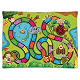 Super Soft Throw Blanket Custom Design Cozy Fleece Blanket,Board Game,Joyful Zoo Various Animals Circles Target Gorilla Giraffe Kids in Car Start Flag Decorative,Multicolor,Perfect for Couch Sofa or B