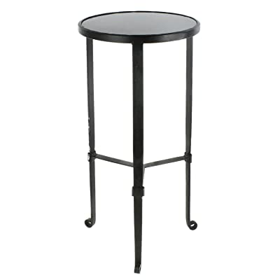 HomArt Savoy Iron & Stone Side Table (Black with Grey Stone)