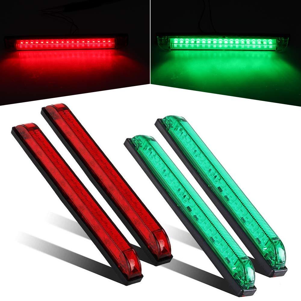 8' Boat Bow Navigation Light 18 LED Red & Green Marine Utility Strip Bar Waterproof Side Marker Lights for Boat RV Trailer, 4-Pack(2Green + 2Red)