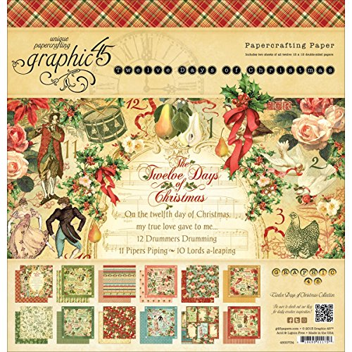 Graphic 45 12 Days of Christmas Pad 12 by 12-Inch