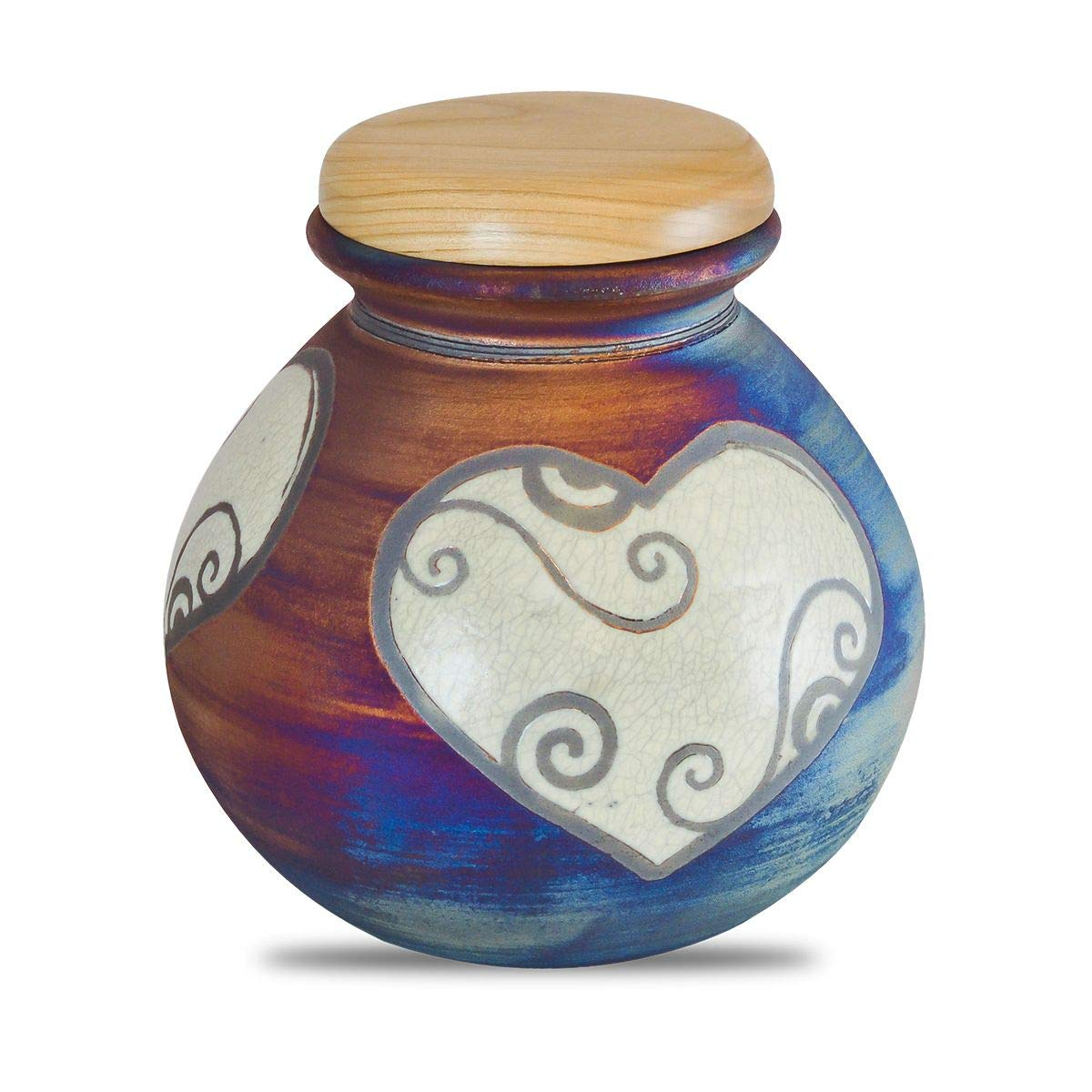 Palm Memorials Beautiful Ceramic Raku Urn (Heart)