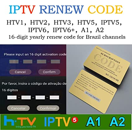 Brazil Brailian TV Box Renew Code Activation Code for A1/A2/ HTV/IPTV/King  5/6,Subscription 16-Digit Renew Code,One Year, Brazilian IPTV TV Box Code