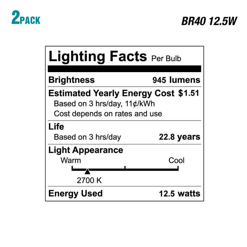 EcoSmart 75-Watt Equivalent BR40 Dimmable Energy Star LED Light Bulb Soft White 4-Pack