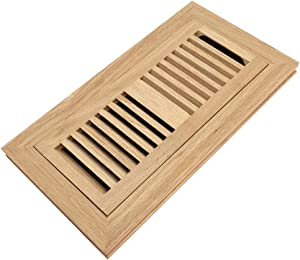 Red Oak Wood Flush Mount Floor Register Vent Cover, 4x10 Inch (Duct Opening), 3/4 Inch Thickness, with Damper, Unfinished