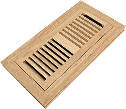 Red Oak Wood Flush Mount Floor Register Vent Cover 4x10 Inch Duct Opening 3 4 Inch Thickness With Damper Unfinished Amazon Com