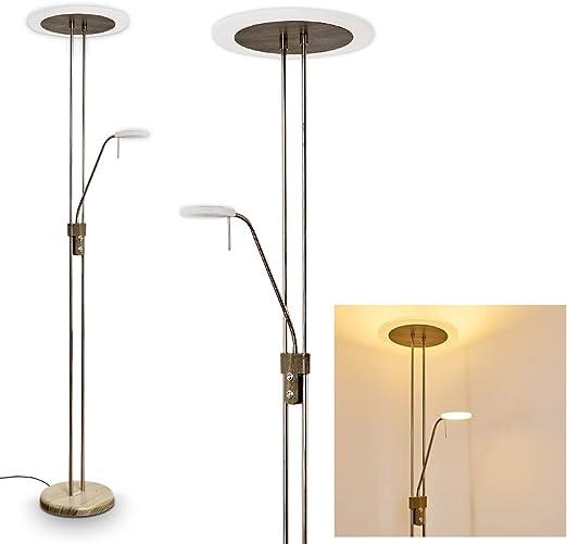 Lámpara de pie LED Ligona metal optica madera - para oficina - dormitorio - sala de estar - Regulador de