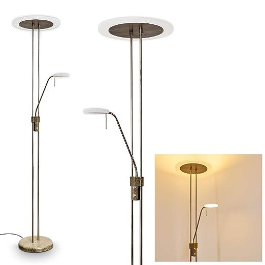 Lámpara de pie LED Ligona metal optica madera - para oficina - dormitorio - sala de estar - Regulador de 2 teclas para la conmutación por separado del ...