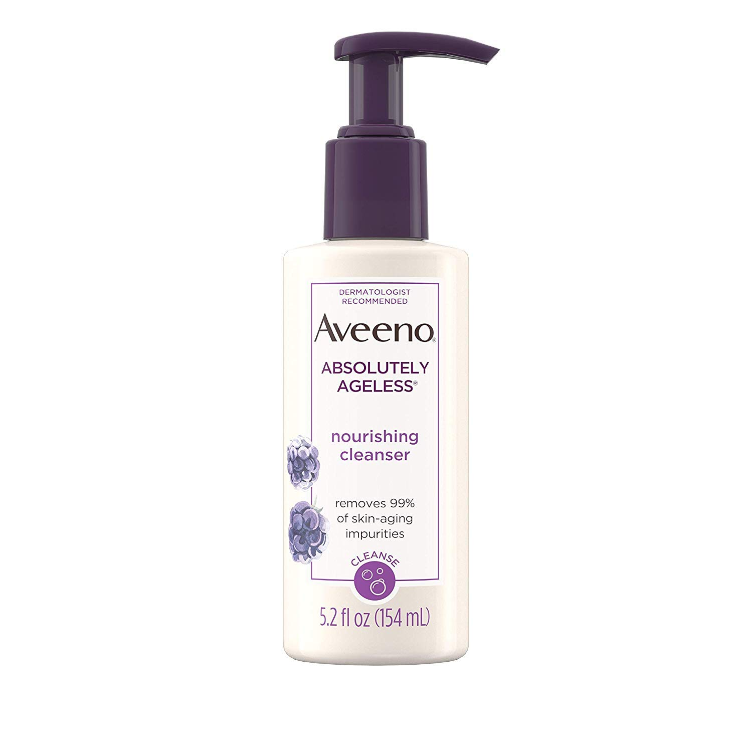 Aveeno Absolutely Ageless Nourishing Daily Facial Cleanser with Antioxidant-Rich Blackberry Extract, Non-Comedogenic Face Wash from Dermatologist-Recommended Brand, 5.2 fl. oz (Pack of 2)