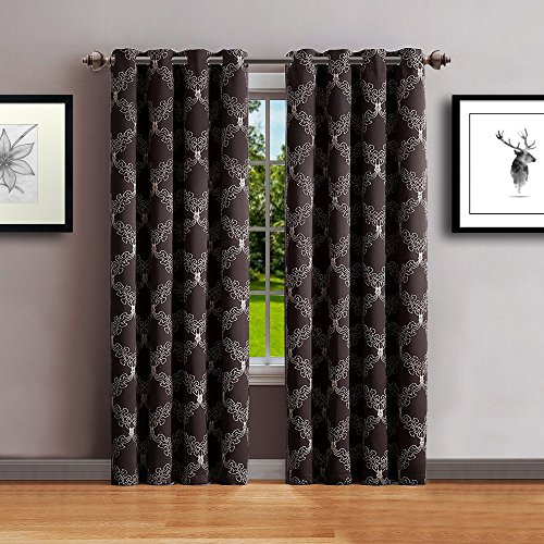 Cheap Warm Home Designs 1 Panel of Long Length 54″ x 96″ Chocolate Brown Textured Blackout Curtains with Beige Color Embroidered Pattern. Block Sun Rays & Reduce Outside Noise. C Chocolate 96