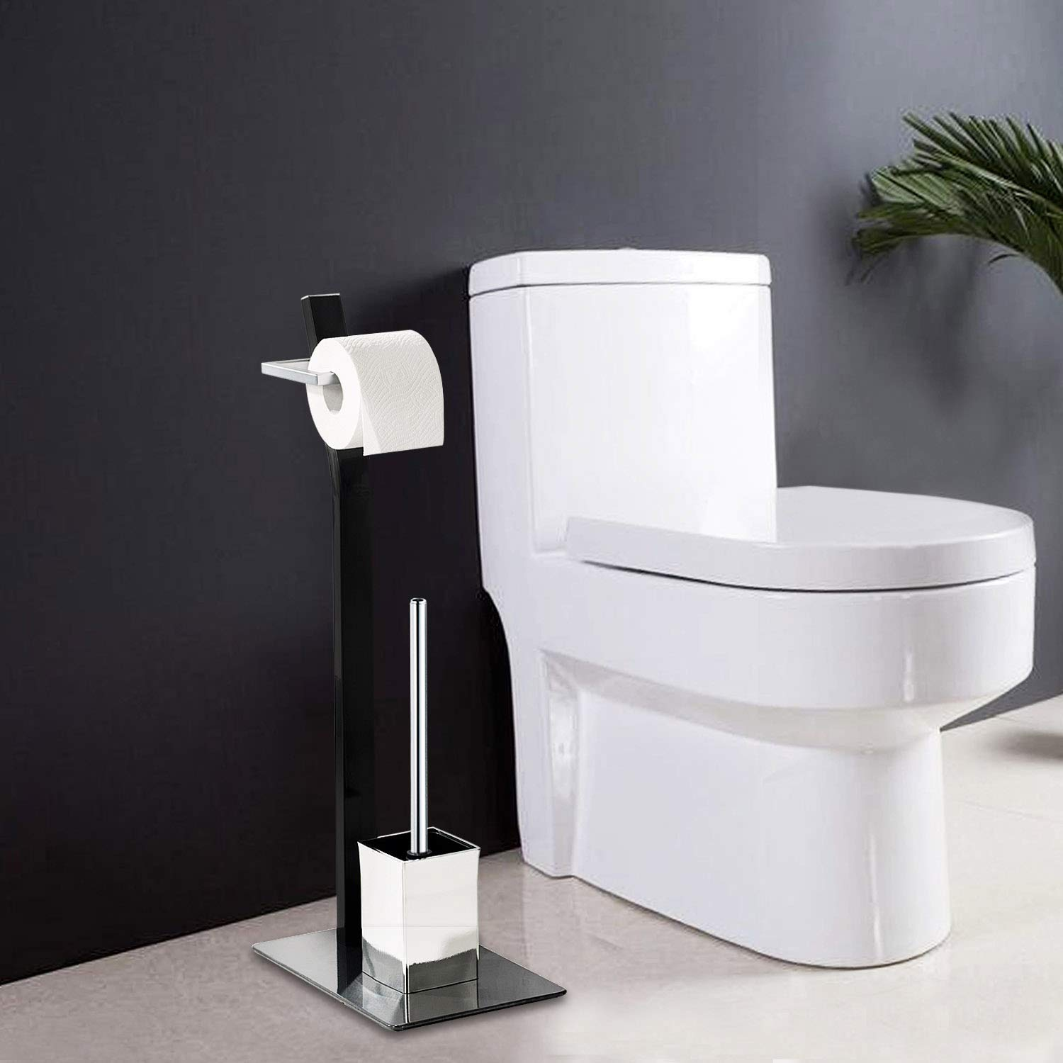 Free Standing Toilet Paper Holder Black Tissue Industrial Bathroom Toilet Brush And Holder Set Stand Silver by FOYUEE (Image #6)