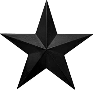 "EcoRise Black Barn Star – Star Wall Décor, Metal Stars for Outside or Inside of House, Iron Texas Metal Star Rustic Vintage Western Country Home Farmhouse Wall Art Decorations (9"")"