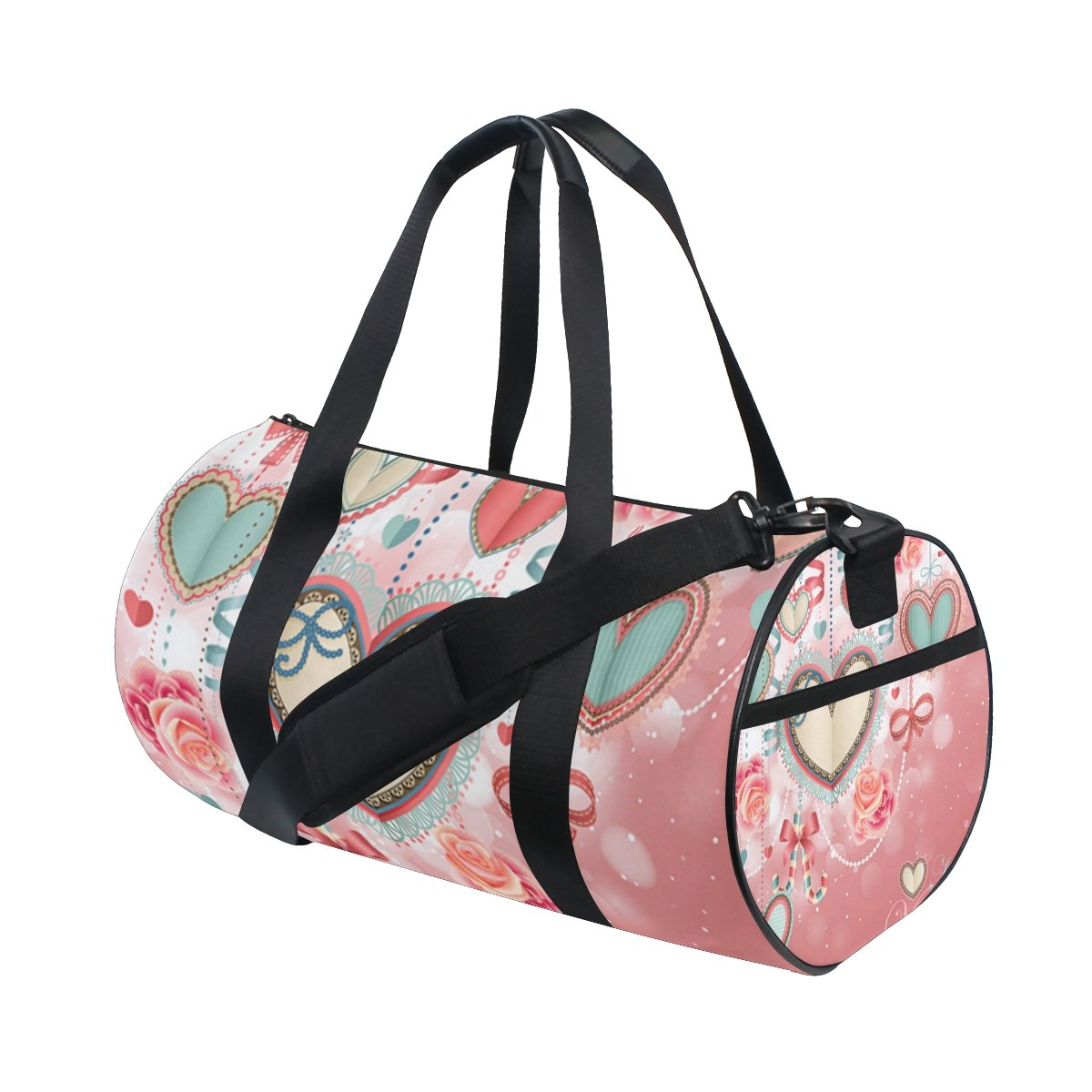 U LIFE Happy Valentines Day Love You Floral Roses Hearts Sports Gym Shoulder Handy Duffel Bags for Women Men Kids Boys Girls
