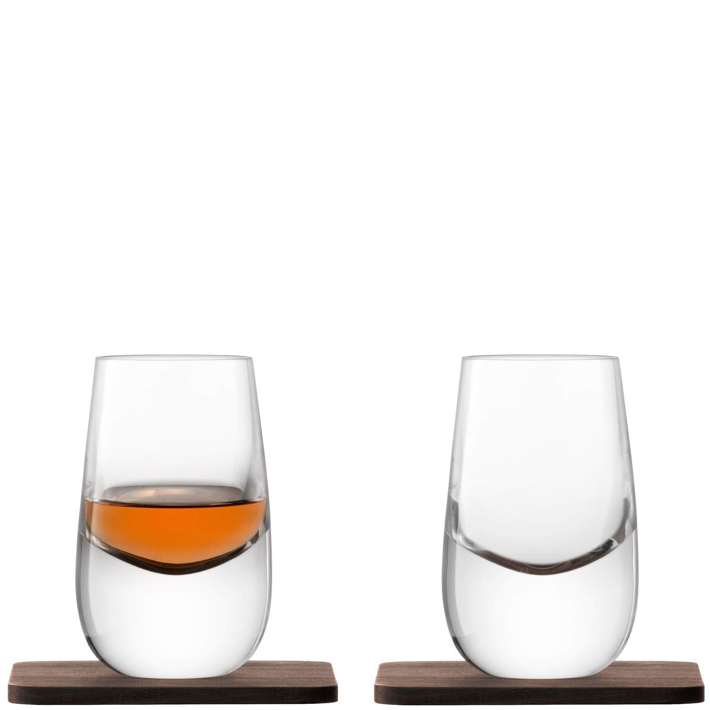LSA International Whisky Islay Shot Glass (2 Pack), 2.7 fl. oz., Clear/Walnut