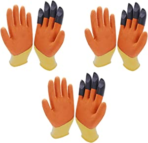 3 Pair Gardening Gloves for Women, Waterproof & Breathable Rubber Coated Garden Gloves, Outdoor Protective Work Gloves Medium Size Fits Most, Orange
