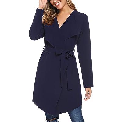 iClosam Women's Thin Trench Coat Long Wrap Coat Open Peacoat with Belt at Women's Clothing store