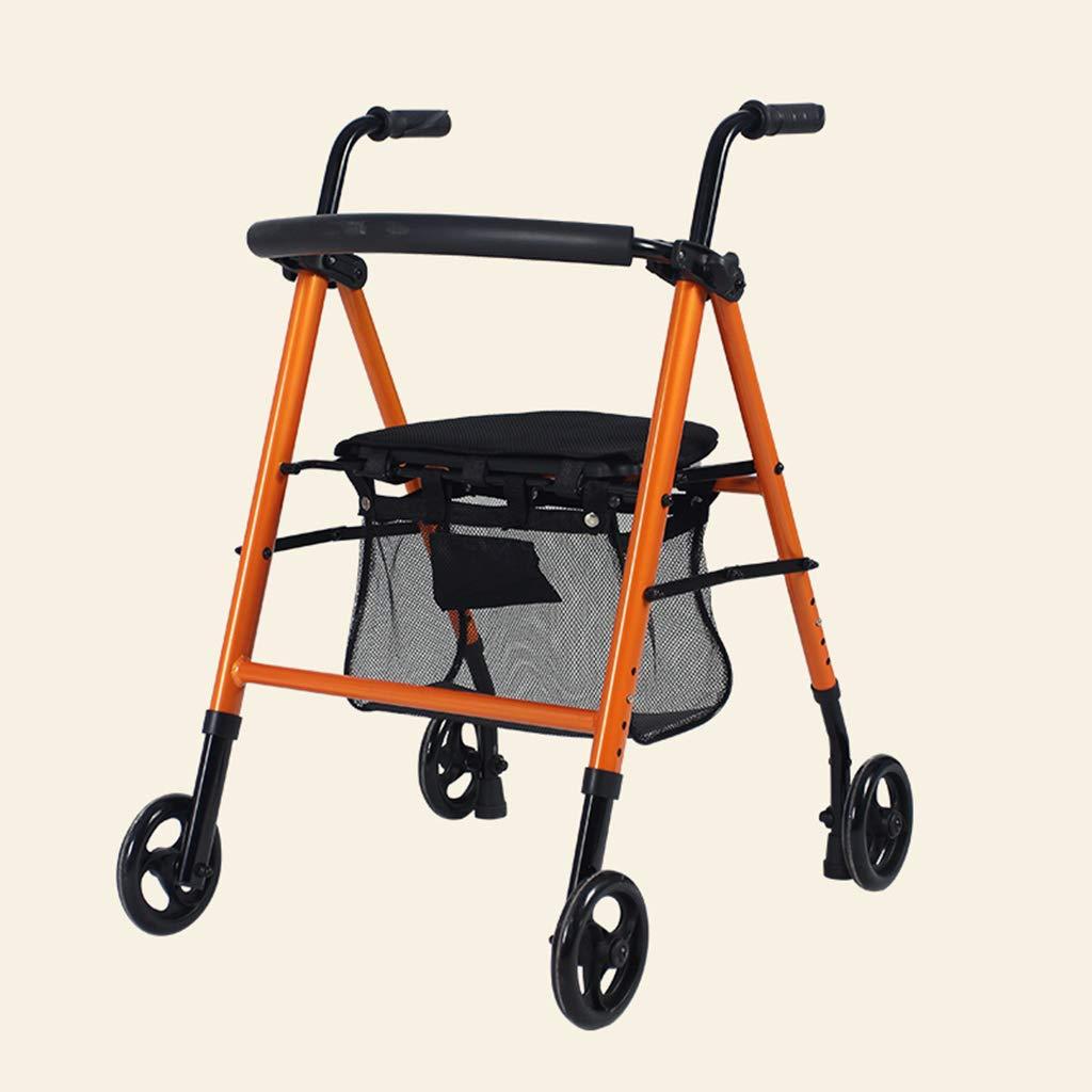 ポータブル折り畳み式高齢者歩行者用ショッピングカートライト四輪トロリーショッピングカート (色 : Orange) B07L6HBGJS Orange