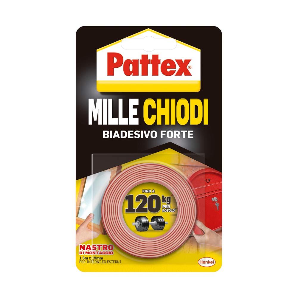 Pattex Millechiodi Tape, nastro biadesivo extra forte per applicazioni permanenti, nastro adesivo di montaggio per interni ed esterni, 19 mm x 1,5 m