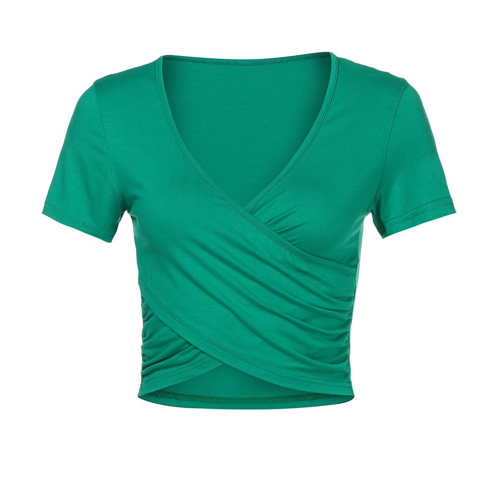 Fashion Women's Deep V Neck T-Shirt,Cross Short Sleeve Wrap Slim Fit Casual Crop Tops Blouse Green