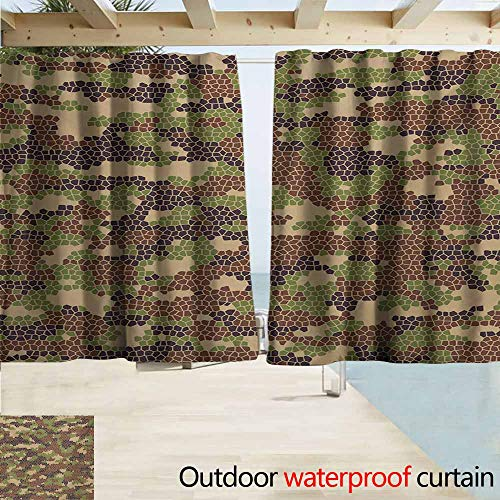 AndyTours Rod Pocket Top Blackout Curtains/Drapes,Camo Summer Season Pattern Abstract Concept Comb Like Mosaic Form Illustration,Outdoor Privacy Porch Curtains,W55x63L Inches,Green Brown Dark Brown